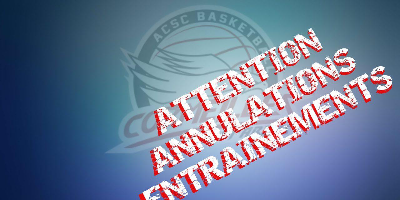 [Annulations] Entrainements U9, U15F, Détentes